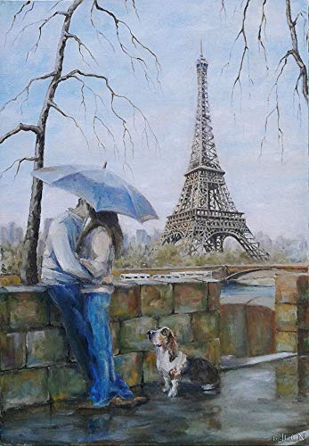 Ifymei Paint Number Kits Paintworks Diy Oil Painting Kids Adults Beginner, Painting 16X20Inch(Love Eiffel Tower)