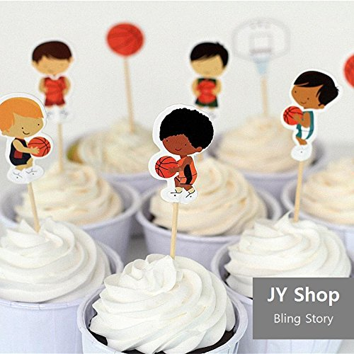 24pcs Basketball Sport Boys Cupcake Toppers Picks Baby Shower Kids Birthday Party Supplies Cake Decorations
