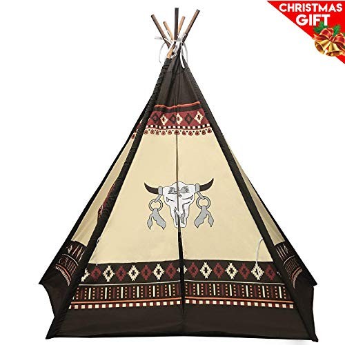 Easygoproducts Indoor 70  Tall Kids Classic Indian Play Tee Pee Tent With 5 Wood Poles &Amp; Carry Bag - Rawhide Look Toy