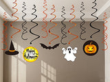 30Ct Halloween Hanging Swirl Ceiling Haunted House Decorations Family Kid Friendly - Pumpkin/ Witches /Hats /Bats /Ghost Party Supplies Creepy Decor