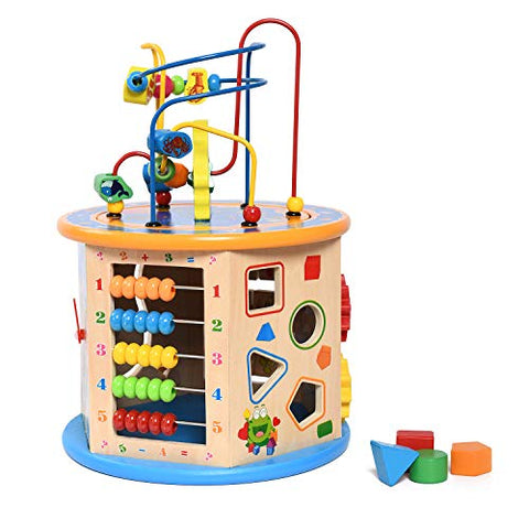 Sophire 8 In 1 Bead Maze Activity Center For Kids Wooden Activity Cube Toys Wooden Shape Sorter Play Cube Multi Functional Learning Toy For Toddlers