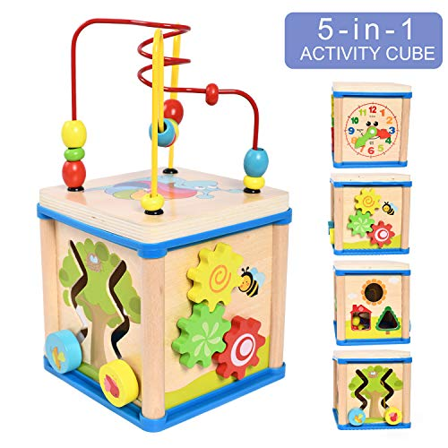 Sophire 5 In 1 Bead Maze Activity Center For Kids Wooden Activity Cube Toys Wooden Shape Sorter Play Cube Multi Functional Learning Toy For Toddlers