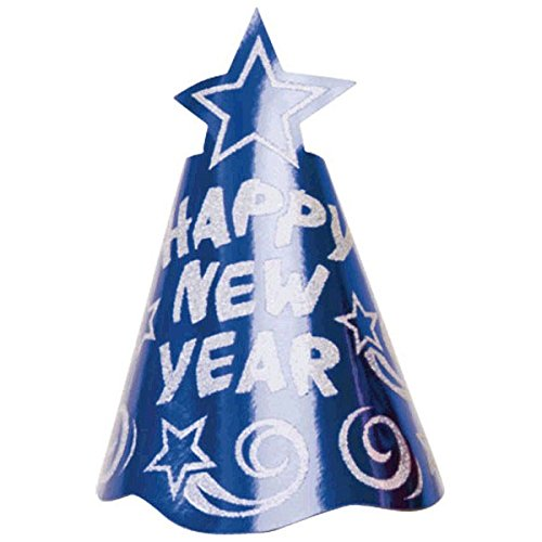Rocking New Year'S Party Shooting Star Glitter Cone Hat Accessory, Blue, Foil, 9