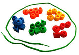 30 Jumbo Toddler Lacing & Stringing Beads With String & Tote By Skoolzy - Montessori Preschool Fine Motor Skills Toys For Occupational Therapy And Autism Ot