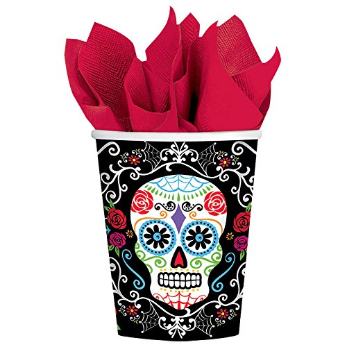 Amscan Day Of The Dead Sugar Skull Disposable Paper Cups, Multicolor, 9 Oz