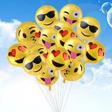 Kuuqa Reusable Emoji Mylar Party Balloons Emoji Balloons Emoji Party Supplies, 16 Piece