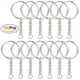 Jmkcoz 100Pcs 1 /25Mm Metal Split Key Ring With Chain Silver Key Ring Keychain Ring Parts Open Jump Ring And Connector Accessories For Diy