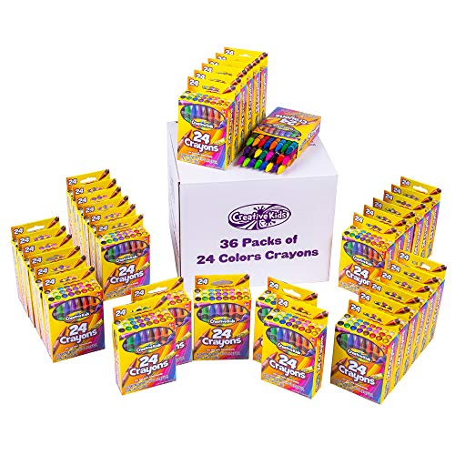 Creative Kids Bulk Classroom Crayons  36 Packs Of 24 Bright, Vibrant Wax Coloring Crayons For Preschool, Kindergarten, Elementary School &Amp; Art Class Teachers  Astm Certified Non Toxic