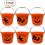 Halloween Candy Bucket 9  Diameter 7  High With Handles Large Plastic Jack O Lantern Pumpkin Trick Or Treat Pails Holder For Toys Sweet Treats Goody Favors