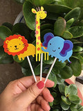 Cute Zoo Animal Cupcake Toppers Picks,Jungle Animals Cake Toppers For Kids Baby Shower Birthday Party Cake Decoration Supplies