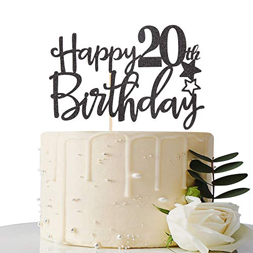 Prime Black Happy 20Th Birthday Cake Topper Hello 20 Cheers To 20 Years Funny Birthday Cards Online Inifodamsfinfo
