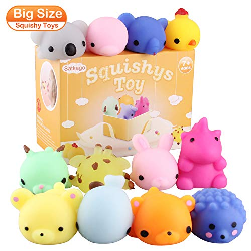 Satkago 12Pcs Big Squishys Toys,3Nd Generation Upgrade Size Mochi Kawaii Squeeze Cartoon Animal Toys For Kids Adults Stress Relieve Pressure Release Anxiety Toy