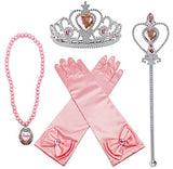 Princess Aurora Dress Up Party Accessories Pink 4 Set Gloves, Tiara, Wand And Necklace