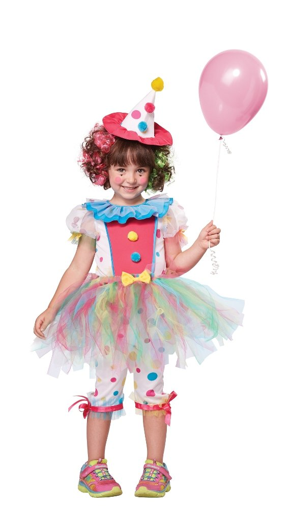 California Costumes Rainbow Clown Costume, One Color, 4-6
