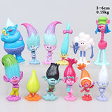 Max Fun Set Of 12Pcs Trolls Dolls, 3-6Cm Tall Dreamworks Movie Trolls Action Figures Cake Toppers