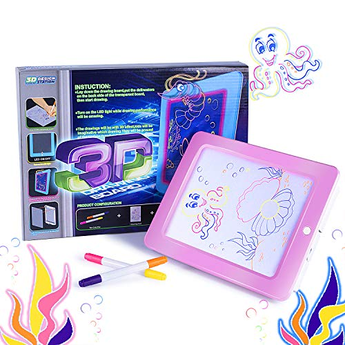 Housedeco New Version Magic Pad,Light Up Led Board,Perfect For Draw,Sketch,Create,Doodle,Art,Write,Learning.Including 2 Fluorescent Pen 1 Board 1 Tablet 1 Double-Sided Paper Card (Pink)