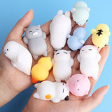 Mochi Squishy, Outee 16 Pcs Animal Squishies Mochi Squeeze Toys Soft Squishy Stress Animal Toys Kawaii Animal Squishy Mini Slow Rising Seal Rabbit Duckling Cat Pig Tiger Squishies, Random Color