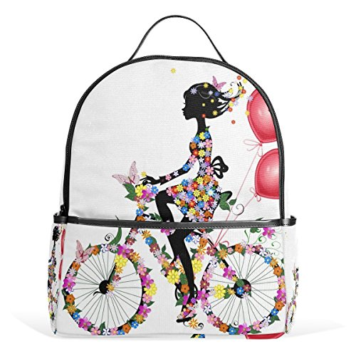 School Backpack African American Bicycle Women Travel Bag For Teenagers Boys Girls