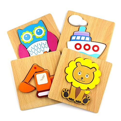 Dreamseden Wooden Jigsaw Puzzles For Toddlers Vehicles Chunky Puzzles Educational Toys For Kids Boys Girls, Free Drawstring Bag For Easy Storage (Digger/ Lion/ Ship/ Owl)