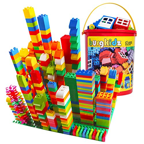 Burgkidz Big Building Block Sets - 214 Pieces Toddler Educational Toy Classic Large Sizes Building Blocks Bricks - 13 Fun Shapes And Storage Bucket - Compatible With All Major Brands