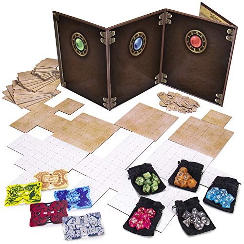 Dungeon Master Essentials: Roleplaying Starter Kit | Customizable Gm Screen, 44 Reversible Map Tiles, 5 Character Health Trackers, 5 Polyhedral Dice Sets | Tabletop Fantasy Game Beginner Accessories