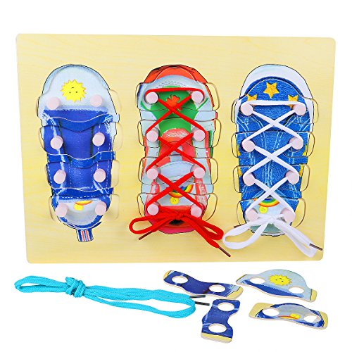 Lewo Wooden Tie Shoes Lace Tying Board Learn To Tie Your Shoe Laces Wooden Puzzle Peg Board Educational Toys Early Learning Pretend Lacing Shoes Games For Kids Girls Boys