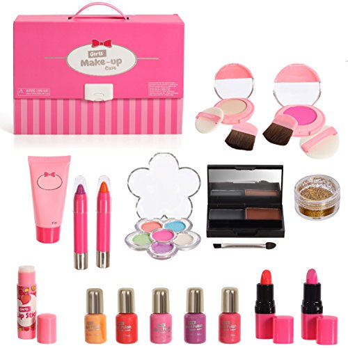 Complete Girls Pretend Makeup Palette Set In Carry Case With Mirror