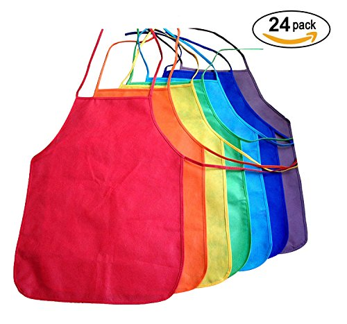 Multicolored Kids Artists Apron Set Of 24 Open Back Sleeveless Art Craft Smock Aprons | Childrens Assorted Variety Colorful Diy Protective Reusable Kitchen | Painting Aprons Ages 3 And Up