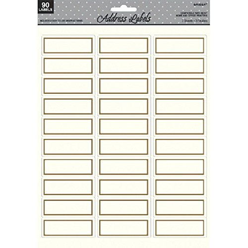 Amscan Elegant Border Printable Sticker Address Labels Party Supply , White/Gold, 8.5  X 11