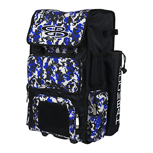 Boombah Rolling Superpack Baseball / Softball Gear Bag - 23-1/2  X 13-1/2  X 9-1/2  - Camo Black/Royal Blue - Telescopic Handle And Holds 4 Bats - Wheeled Version