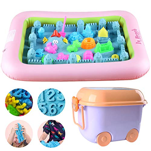 Tigerhu Play Sand Toy With 4 Lbs Beach Sand, 91 Pcs Molds Tool Kit And Tray, Beach Sand Set For Kids, Boys, Girls