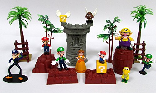 Super Mario Brothers 17 Piece Playset Featuring Random Mario Character Figures And Accessories