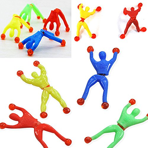 Pinksee 12Pcs Action Figuer Sticky Wall Climber Climbing Men Novelty Toys