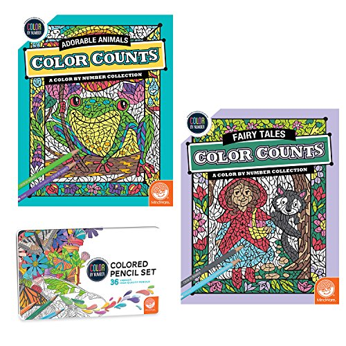 Color By Number Color Counts: Fairy Tales And Adorable Animals Set Of 2 With Pencils