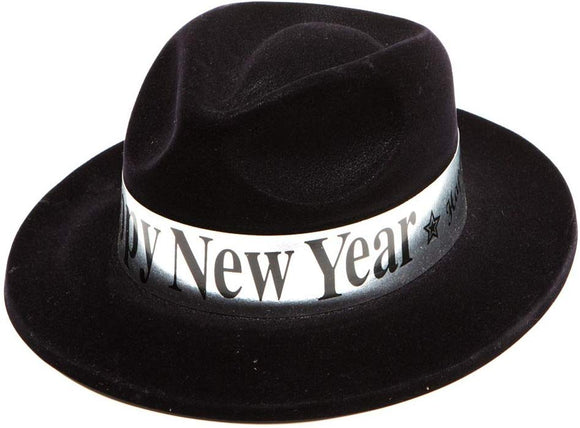 Party Time Manufacturing Happy New Years Black Velour Fedora