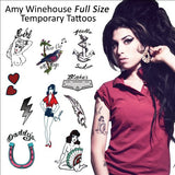 Amy Winehouse Temporary Tattoos (Full Size Tattoos) Complete Set