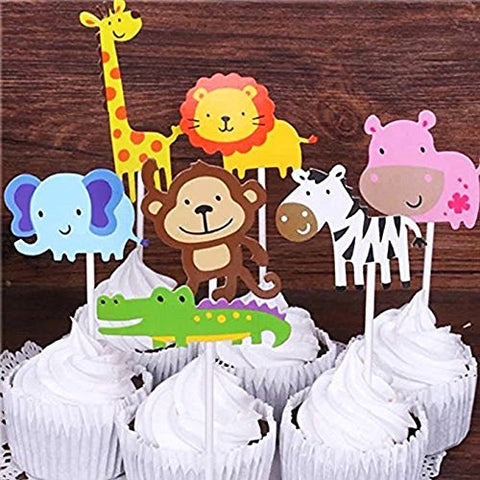 Cute Zoo Animal Cupcake Toppers PicksJungle Animals Cake For Kids Baby Shower Birthday