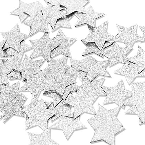 Aonor 2 Packs Glitter Star Confetti For Table Decor, Baby Shower, Birthday Party Decorations, Silver, 1.2  In Diameter, Total 400Pcs