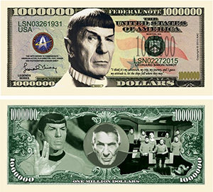 Set Of 5 - Leonard Nimoy Star Trek Spock Collectible Million Dollar Bill