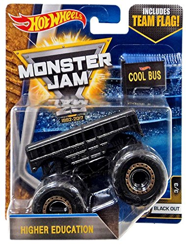 2017 Higher Education Monster Jam Truck W/ Team Flag Black Out 3/3 Chase Case J