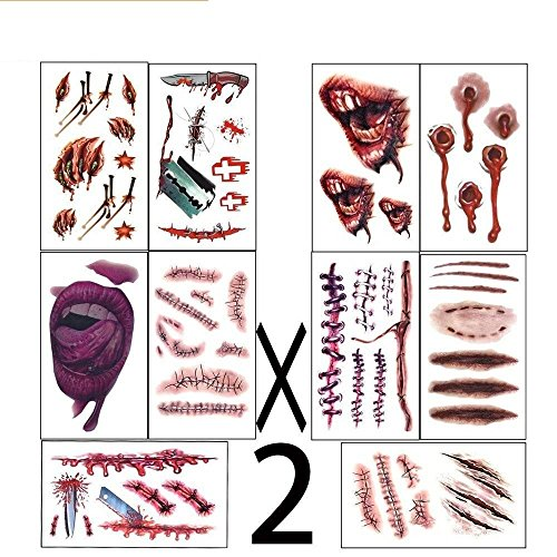 Halloween Costumes  Zombie Tattoosmakeup For Halloween Party Prop Decorations, Body Scar Stickers For Cos Play By Dream Loom (20 Sheet)