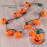 Yunlights Led Halloween Light Up Pumpkin Necklace With 6 Lighting Modes 35-Inch Party Favors, (Orange)