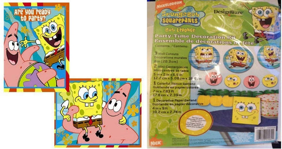 Spongebob Squarepants Party Supplies, Table Decorations, Invitations And Thank You Cards (Serves 8 Guests)