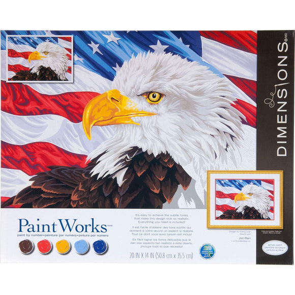 Dimensions 73-91728 Paintworks Paint By Numbers Kit For Adults And Kids, Bald Eagle, 20'' X 14''
