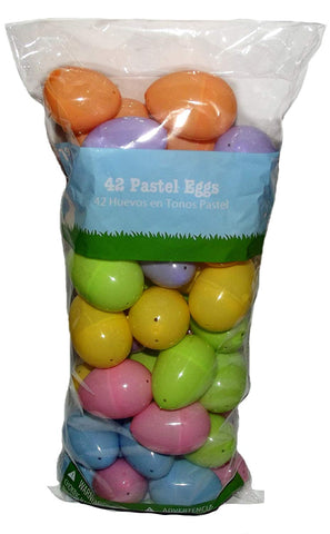 Easter Pastel Plastic Egg Containers-42 Ct