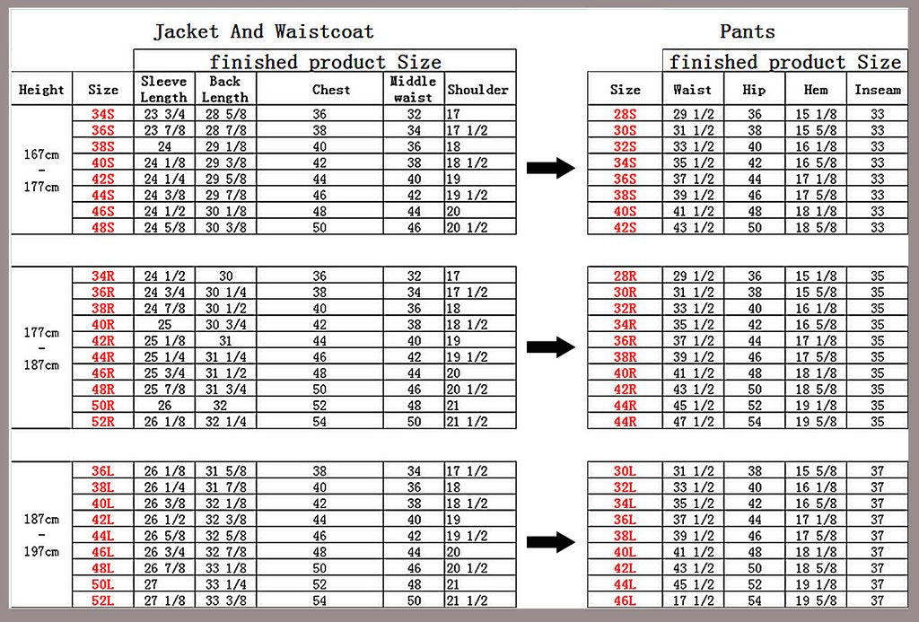 suit size chart mens