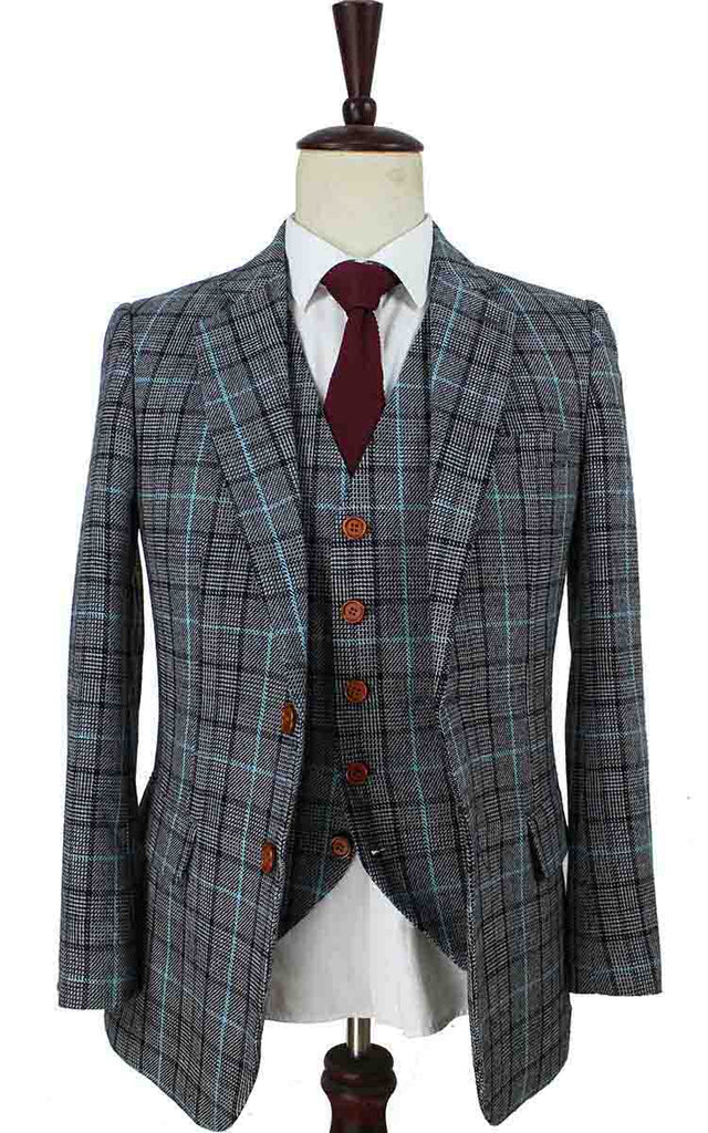 grey blue houndstooth plaid tweed 2 piece suits