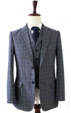 RETRO GREY BLUE PLAID TWEED 2 PIECE SUIT