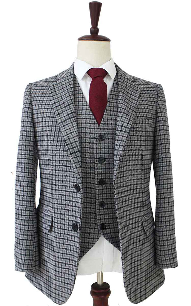 grey houndtooth tweed 2 piece suits