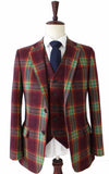 RAINBOW RED PLAID TWEED 2 PIECE SUIT